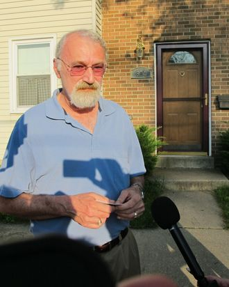 """Jonathan Mills, the father of Lindsay Mills who dated the man who leaked details of a secret National Security Agency surveillance program, talks to reporters outside his home in Laurel, Md., on Tuesday, June 11, 2013. Mills says his daughter is doing """"as well as could be expected."""" He described leaker Edward Snowden as shy and reserved who"""