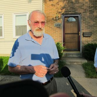"Jonathan Mills, the father of Lindsay Mills who dated the man who leaked details of a secret National Security Agency surveillance program, talks to reporters outside his home in Laurel, Md., on Tuesday, June 11, 2013. Mills says his daughter is doing ""as well as could be expected."" He described leaker Edward Snowden as shy and reserved who"