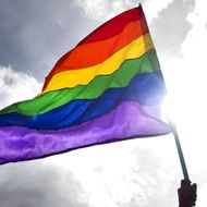 A reveller waves a rainbow flag during the Gay Pride Parade