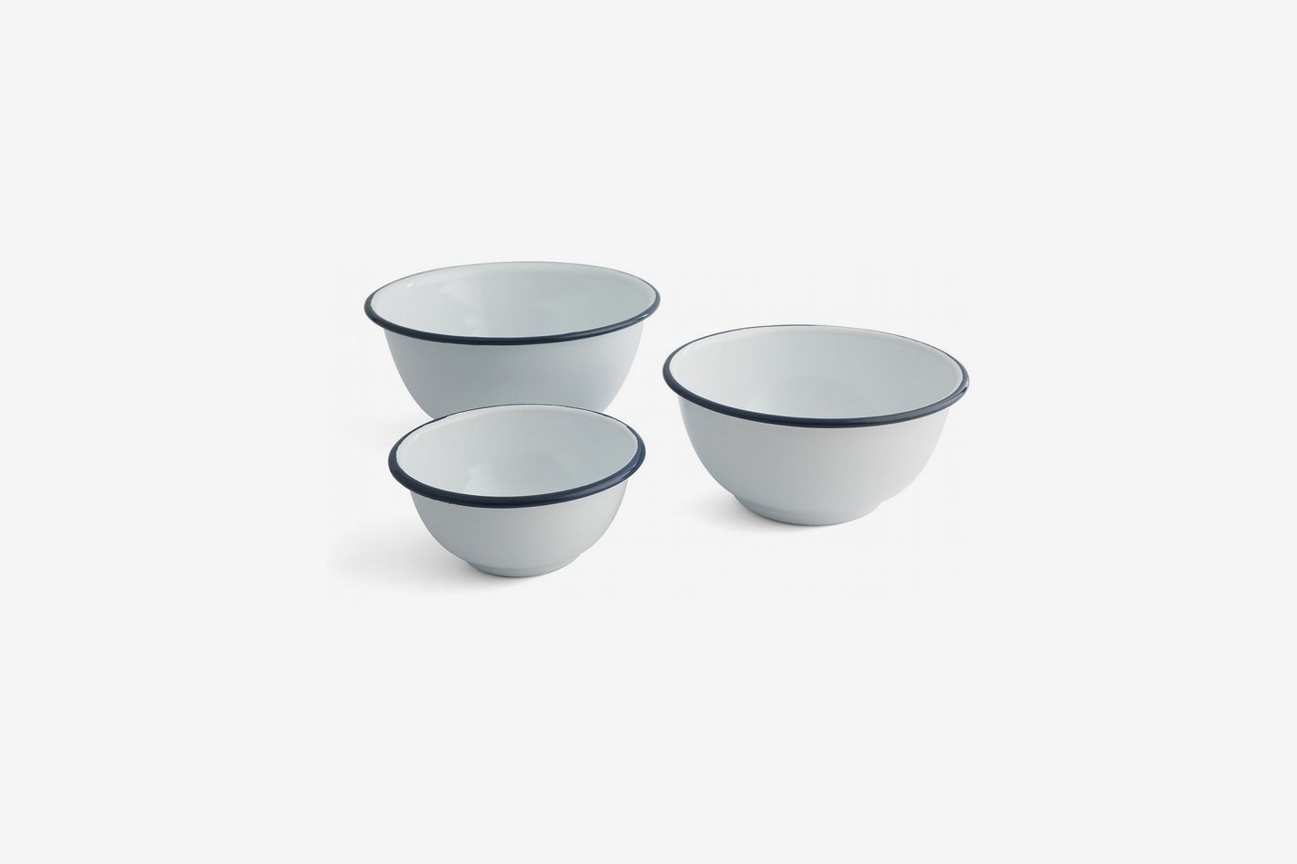 Thirstystone White with Blue Stripe Round Bowls, Set of 3