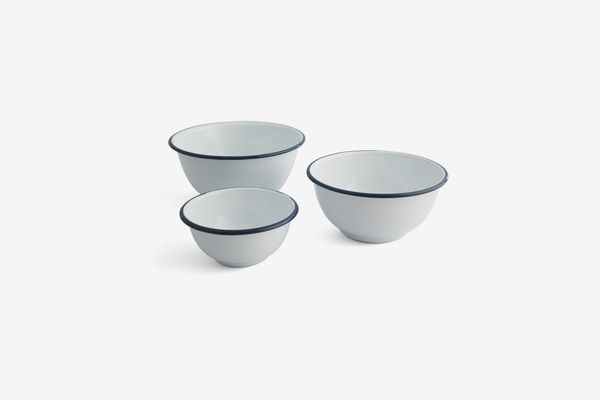 Thirstystone White with Blue Stripe Round Bowls, Set of 3