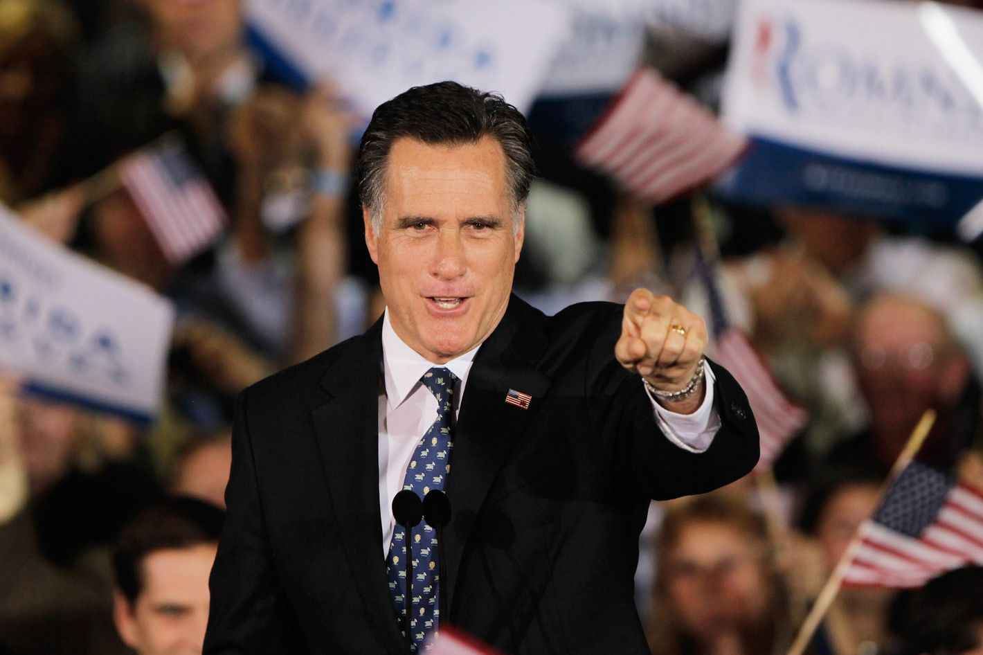 TAMPA, FL - JANUARY 31:  Republican presidential candidate, former Massachusetts Gov. Mitt Romney gestures during his Florida primary night party on January 31, 2012 in Tampa, Florida. According to early results Romney defeated former Speaker of the House Newt Gingrich, former U.S. Sen. Rick Santorum and U.S. Rep. Ron Paul (R-TX) to win Florida's primary.   (Photo by Joe Raedle/Getty Images)