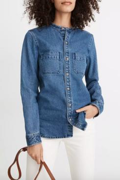 Madewell Denim Banded-Collar Shirt