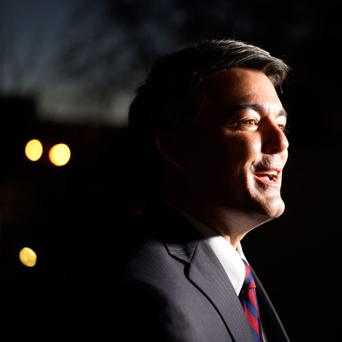 29 Oct 2014, Denver, Colorado, USA --- Cory Gardner, Republican U.S. Senate candidate talks to a guest at the Hispanic Chamber of Commerce of Metro Denver event in Denver in this October 24, 2014 file photo. To match USA-ELECTIONS/CLIMATE REUTERS/Rick Wilking/Files (UNITED STATES - Tags: POLITICS) --- Image by ? RICK WILKING/Reuters/Corbis