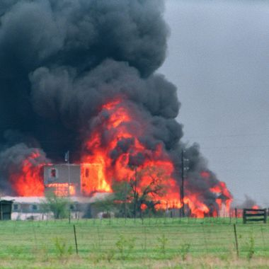 The Branch Davidian Compound observation tower shown in a file photo dated 19 April 1993 engulfed in flames after a fire started inside the compound. After a shootout in Waco in 1993 that killed four federal agents and six members of the Branch Davidian religious sect, authorities negotiated with cult leader David Koresh for 51 days. On the final day, 19 April 1993, a few hours after a government tank rammed the cult's wooden fortress, the siege ended in a fiery blaze, killing Koresh and 80 of his followers.