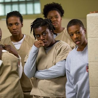 "(L-R) Danielle Brooks, Vicky Jeudy, Uzo Aduba, Adrienne C. Moore, and Samira Wiley in a scene from Netflix's ""Orange is the New Black"" Season 2. Photo credit: Jessica Miglio for Netflix."