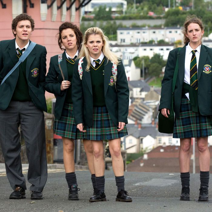 The girls (and wee English fella) of Derry Girls.