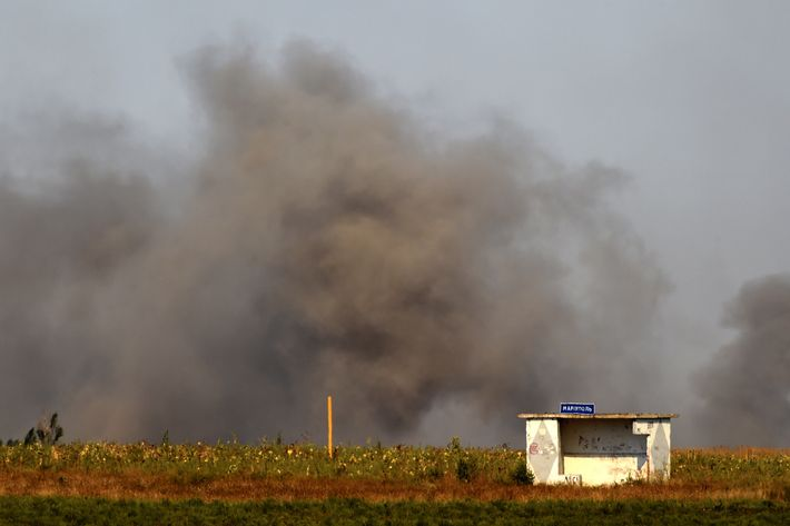 A photo taken on September 5, 2014 shows a smoky landscape after pro-Russian separatists fired heavy artillery, on the outskirts of the key southeastern port city of Mariupol.