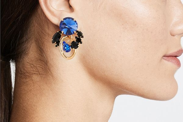 Marni Metal & Strass Clip On Earrings