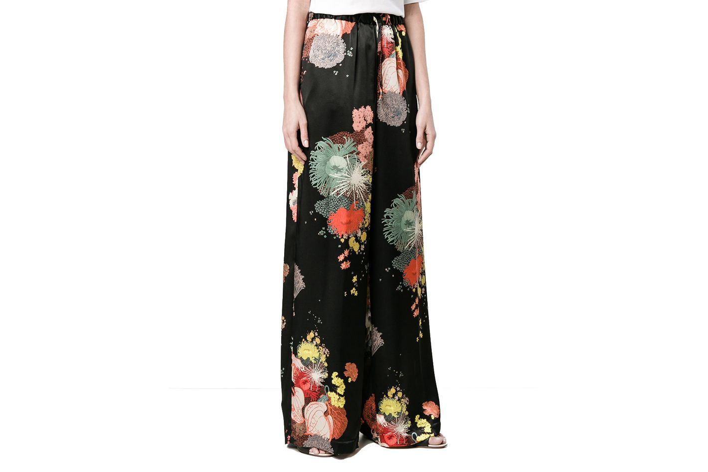 Dries Van Noten Flower Print Wide Leg Trousers
