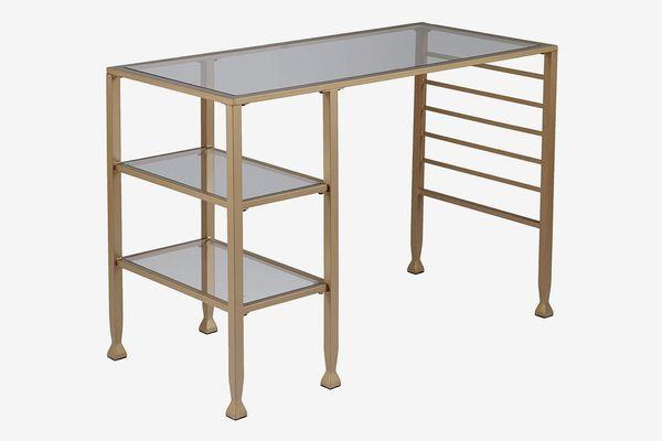 Furniture HotSpot Gold Glass Writing Desk
