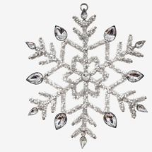 At Home Silver Beaded Snowflake Ornament
