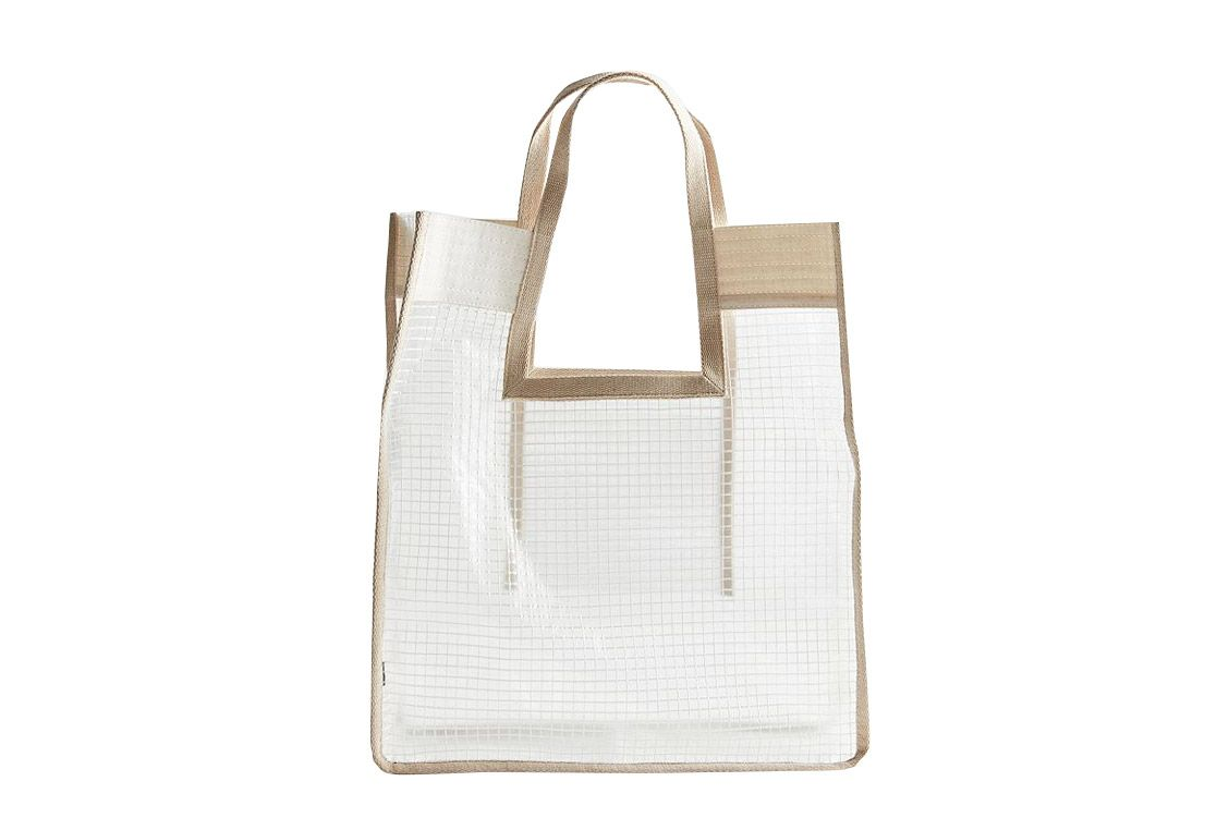 Grid Plastic Shopper Tote Bag