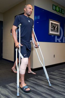 New York Yankees relief pitcher Mariano Rivera emerges from the team's clubhouse before talking with members of the media prior to a game against the Kansas City Royals at Kauffman Stadium on Friday, May 4, 2012, in Kansas City, Missouri. Rivera injured his knee prior to Thursday's game and says he is planning on returning. (John Sleezer/Kansas City Star/MCT) (Newscom TagID: krtphotoslive548836) [Photo via Newscom]