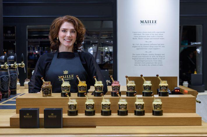 Pierette Huttner works at the new Maille store in Manhattan.