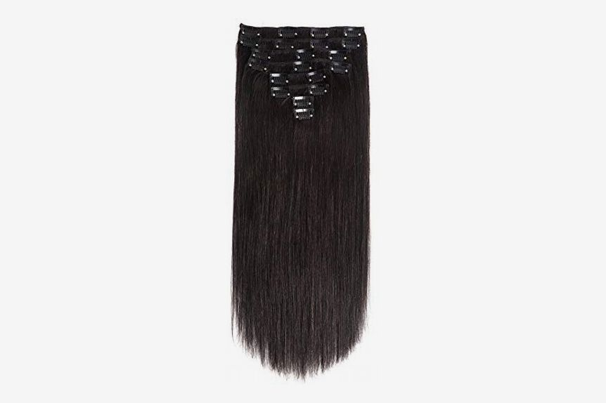 "Lovbite Hair Clip In Human Hair Extensions Double Weft Natural Black, 24"", 120g, 8 Pieces"