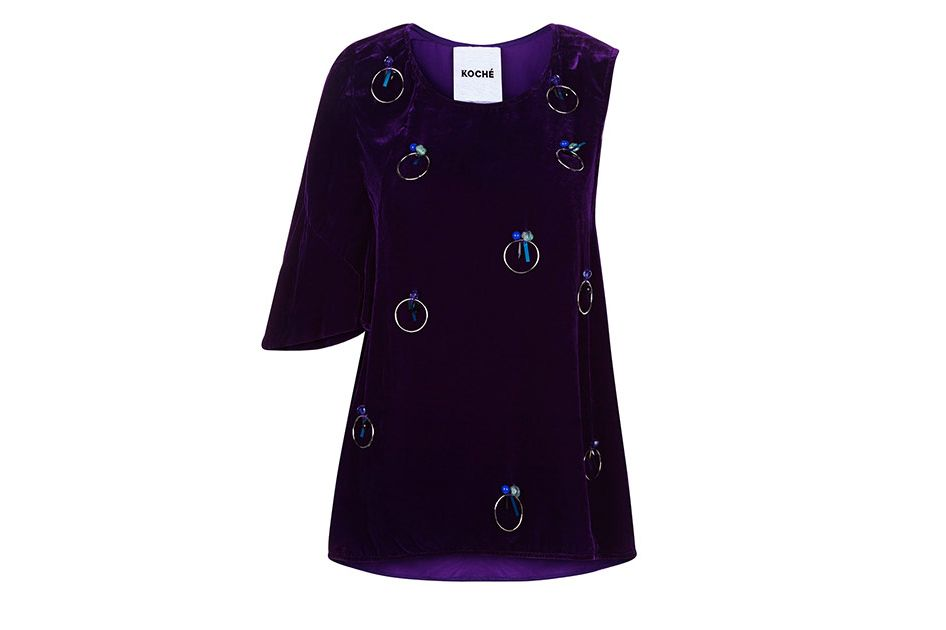 Koché purple velvet embellished one sleeve top