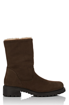 Barneys New York Shearling-Lined Nubuck Ankle Boots