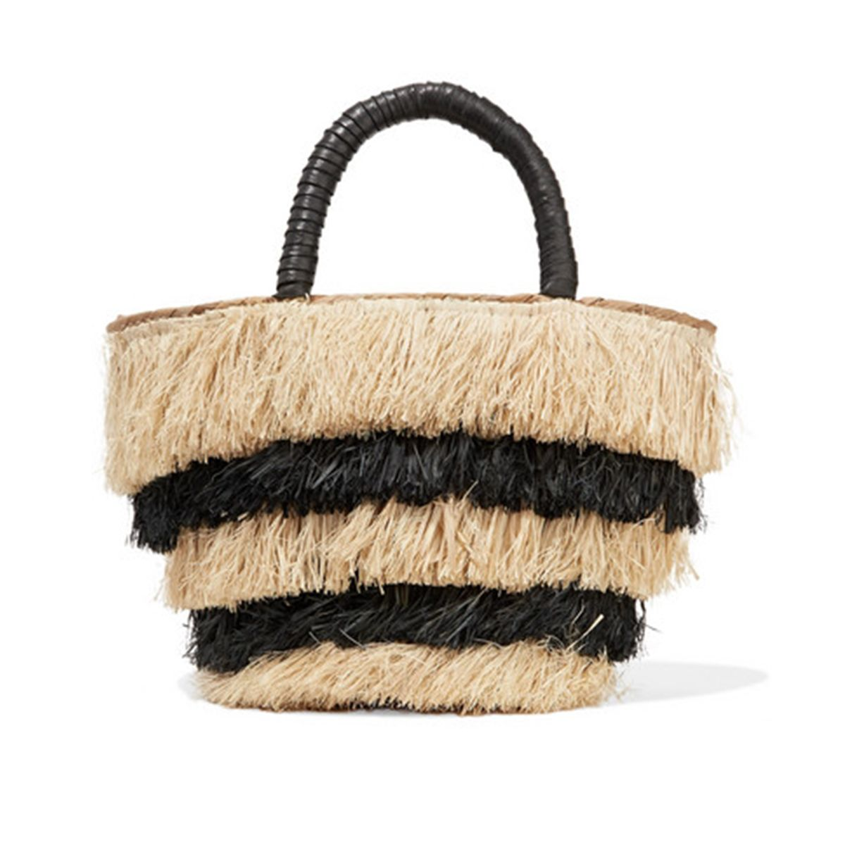 Pinata mini leather-trimmed fringed straw tote