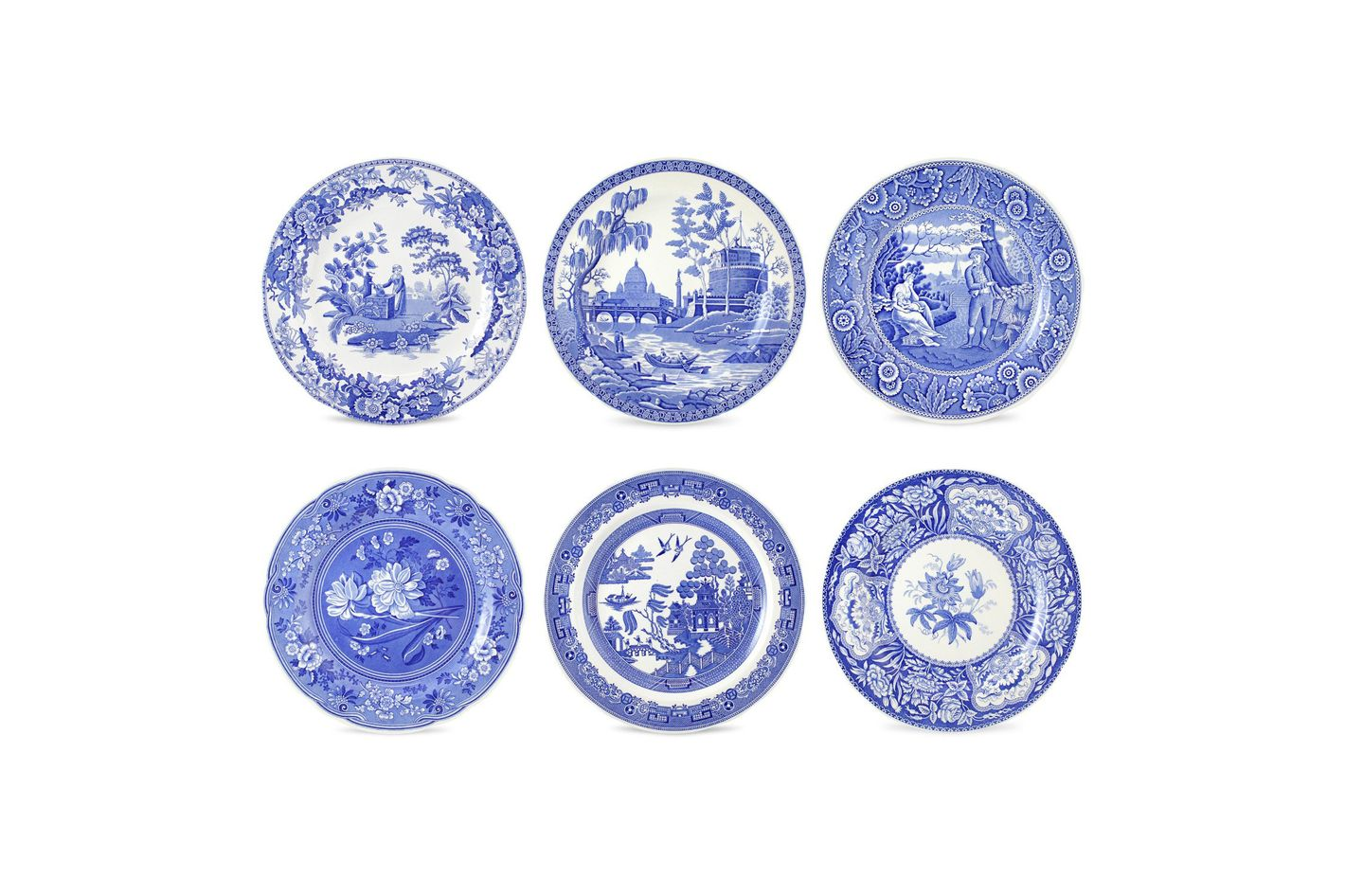 Spode Blue Room Georgian Plates, Set of 6