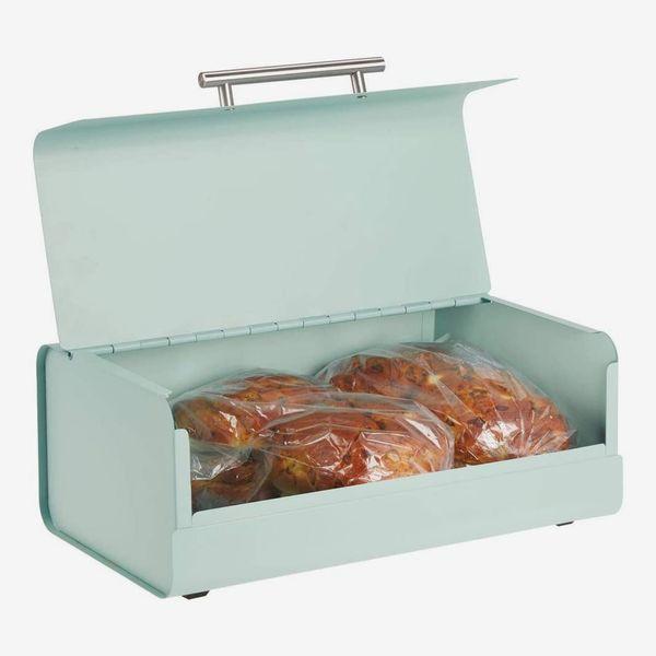 mDesign Metal Bread Box Bin with Hinged Lid