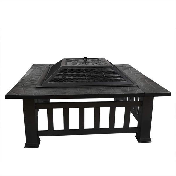 FOBUY Fire Pit with BBQ Grill Shelf