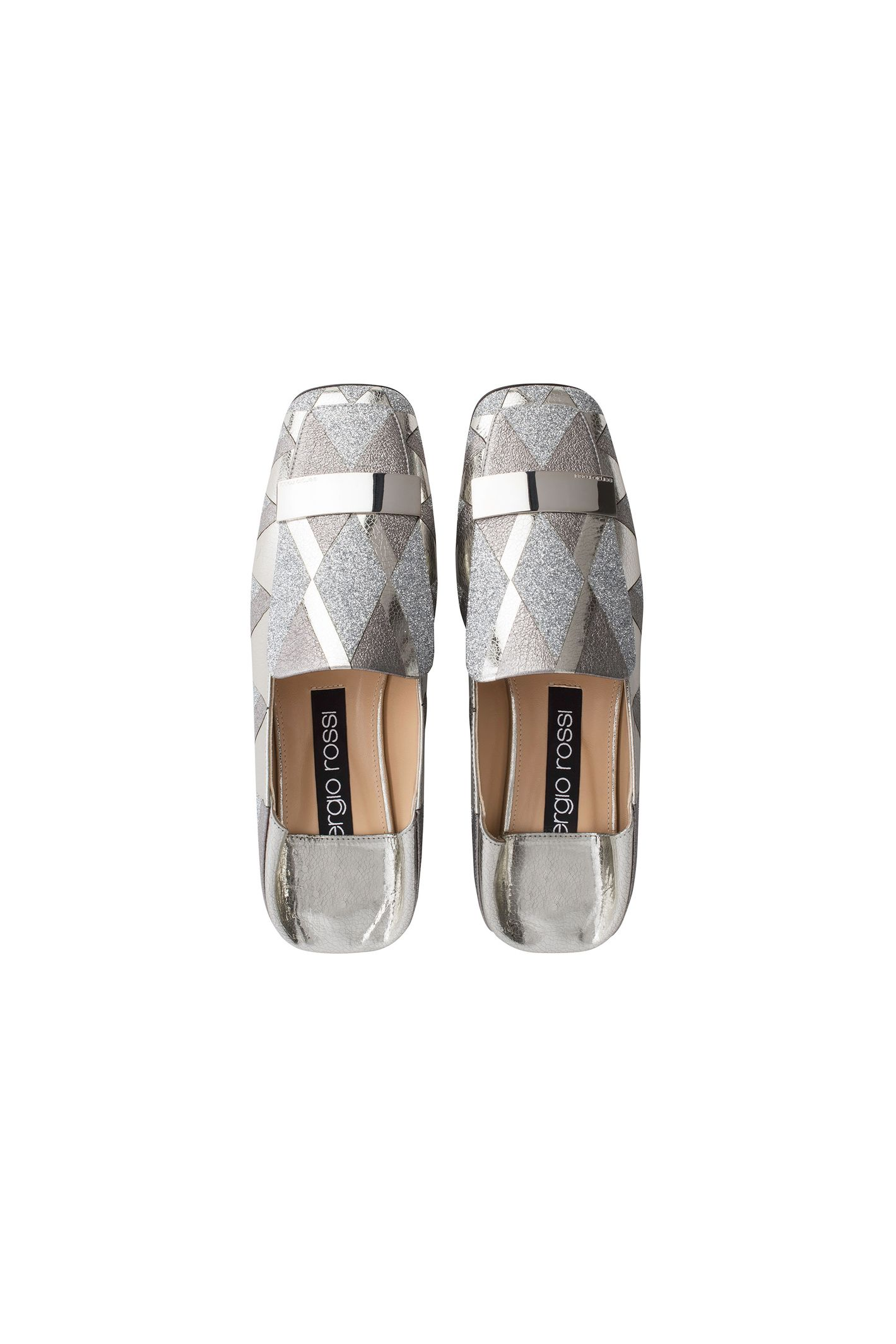 Slipper in Silver Glitter and Laminated Leather