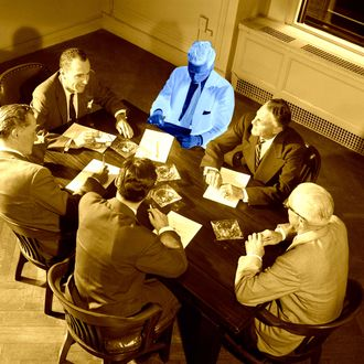 01 Jan 1954 --- 1950s 1960s SIX BUSINESSMEN EXECUTIVES MANAGERS SALESMEN MEETING AROUND CORPORATE CONFERENCE TABLE -