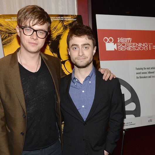 "HOLLYWOOD, CA - OCTOBER 05:  Actor Dane DeHaan (L) and actor Daniel Radcliffe speak at the Q&A for the Variety Screening Series Presents Sony Pictures Classics' ""Kill Your Darlings"" at ArcLight Hollywood on October 5, 2013 in Hollywood, California.  (Photo by Michael Buckner/Getty Images)"