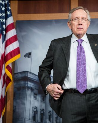 Senate Majority Leader Harry Reid (D-NV) listens during a news conference on Capitol Hill on June 21, 2012 in Washington, DC. The Democratic leadership addressed issues including the resignation of Commerce Secretary John Bryson and the expected Supreme Court ruling on the Affordable Care Act.