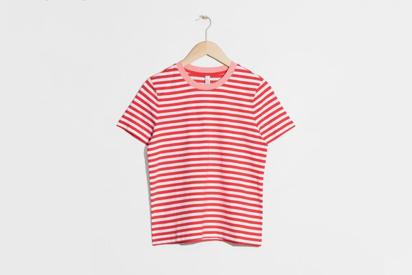 Contrast Neck Striped Tee