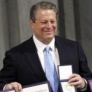 Nobel Peace laureate Al Gore (L) and Doc