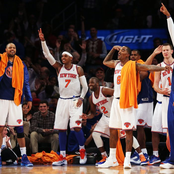 NEW YORK, NY - NOVEMBER 02: The New York Knicks bench celebrate a fourth quarter three pointer against the Miami Heat at Madison Square Garden on November 2, 2012 in New York City. NOTE TO USER: User expressly acknowledges and agrees that, by downloading and or using this photograph, user is consenting to the terms and conditions of the Getty Images License Agreement. (Photo by Nick Laham/Getty Images)