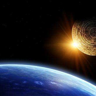 Horizontal background with Maya calendar and Earth
