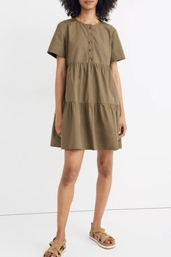 Madewell Button-Front Short-Sleeve Tiered Mini Dress