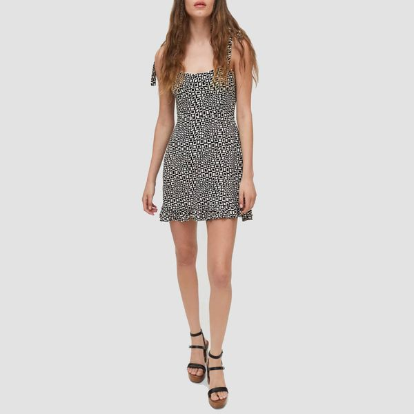 UO Jolene Linen Tie-Shoulder Mini Dress