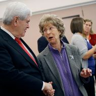 Republican presidential candidate and former Speaker of the House Newt Gingrich, left, talks with Jackie Provost, 86, right, during a campaign stop at the Newark Senior Center on April 11, 2012 in Newark, Delaware. This stop comes the day after former U.S. Sen. Rick Santorum suspended his campaign for the GOP nomination.
