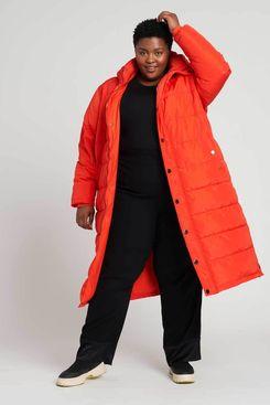 Universal Standard Everest Long Hooded Puffer - Electric Orange