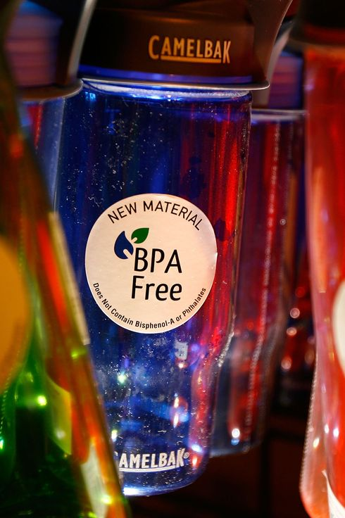 Camelback brand water bottles that are free of the controversial carbonate plastic bisphenol-a (BPA), one of the most widely used synthetic chemicals in industry, hang on display at an outdoor supply store on April 16, 2008 in Arcadia, California.