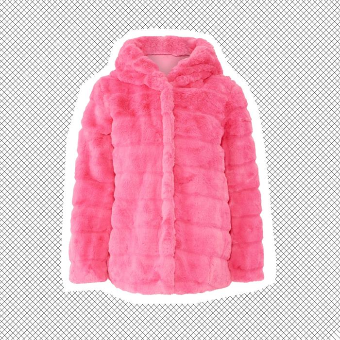Apparis fuchsia Goldie faux fur coat with hood.