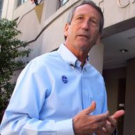 Former South Carolina Gov. Mark Sanford answers questions from reporters after voting in Charleston, S.C., on Tuesday, April 2, 2013. Sanford is facing former Charleston County councilman Curtis Bostic in the Republican runoff for South Carolina's vacant 1st District congressional seat. (AP Photo/Bruce Smith)