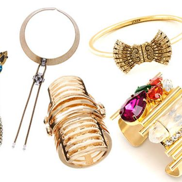 From left: Mismatched Drop Earrings by Iosselliani, Bailey Crystal Collar by Auden, Cut-Out Articulated Armour Ring by ASOS, Deco Bow Bangle by J.Crew, and Chelsea Cuff by Flutter by Jill Golden.
