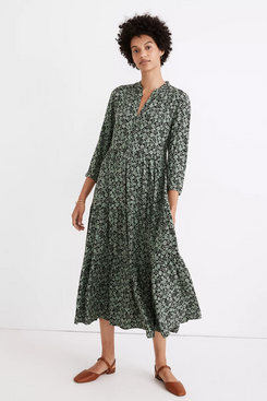 Madewell Button-Front Tiered Midi Dress in Fleur Field