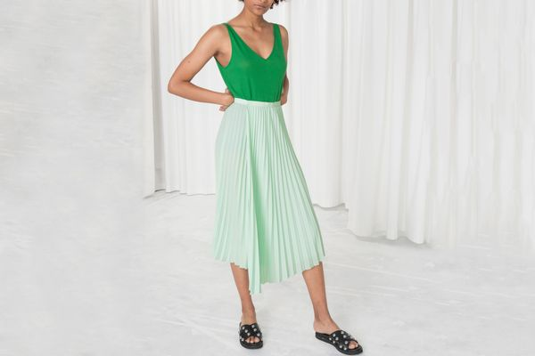 & Other Stories Asymmetric Pleated Midi Skirt
