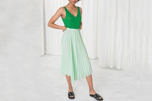 & Other Stories Asymmetric Pleated Midi Skirt