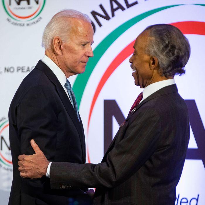 Former-Vice President Joe Biden greets the Reverend Al Sharpton.