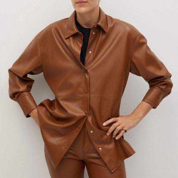 Mango Faux-Leather Shirt