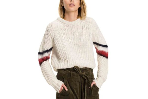 Tommy Hilfiger Cropped Mohair Striped Sweater