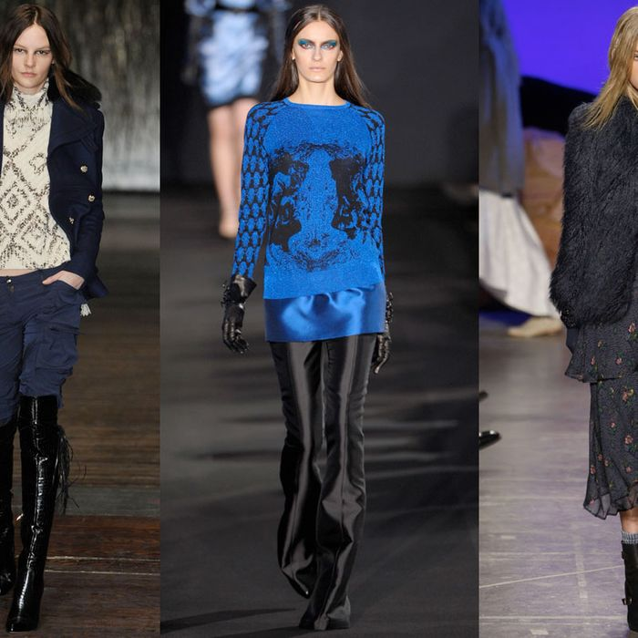 From left: looks from Joseph Altuzarra, Prabal Gurung, and Band of Outsiders.