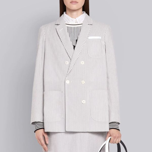 Thom Browne Medium Grey Seersucker Pleated Back Sack Jacket